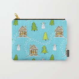 Alpine Ski lodge on Turquoise Carry-All Pouch
