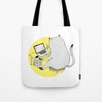 mac Tote Bags featuring Mac Cat by Diana Hope
