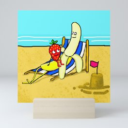 Banana And Strawberry At The Sea Side Mini Art Print