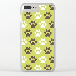 Animal Paw Print Pattern Green Clear iPhone Case