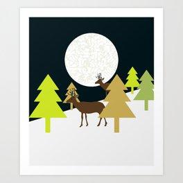 Deer on a hill Art Print