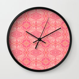 Coral Elephant Pattern Wall Clock