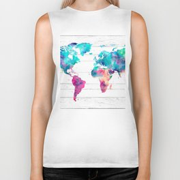 World Map Watercolor Paint on White Wood Biker Tank