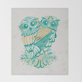Owls – Turquoise & Gold Throw Blanket