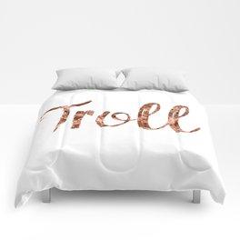 Rose gold troll Comforters