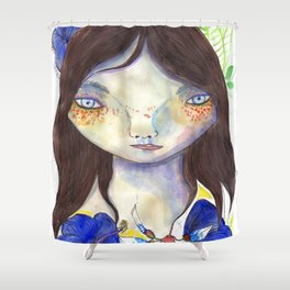 Girl and exotic blue flowers Shower Curtain