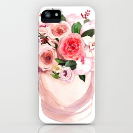 Hand-painted watercolor flower box with peonies and roses illustration on white background iPhone Case