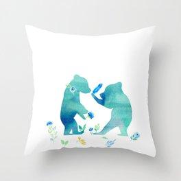 Playing bear kids - Watercolor animal illustration Throw Pillow