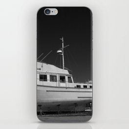 Eastern Shore boat in dry dock (black and white) iPhone Skin