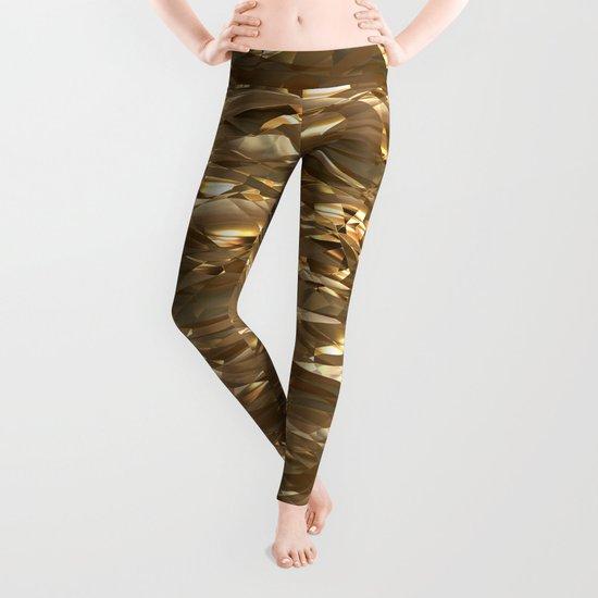 Golden Crinkle Leggings