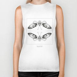 Hand Drawn Moth Print Biker Tank