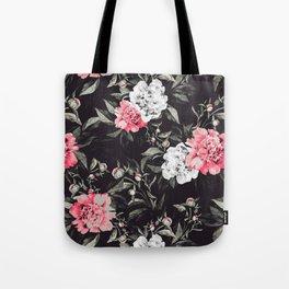 Floral pink - black & white dark Tote Bag