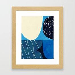 mid century abstract blue II Framed Art Print