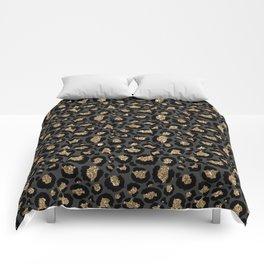 Black Gold Leopard Print Pattern Comforters