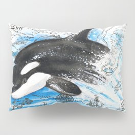 Playful Baby Orca Vintage Map Pillow Sham