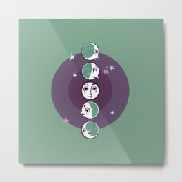 Waxing and Waning Moons Metal Print