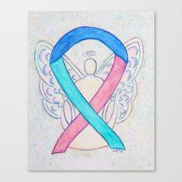 Thyroid Cancer Awareness Ribbon Angel Art Canvas Print