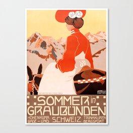 1905 Summer In Grisons Switzerland Travel Poster Canvas Print