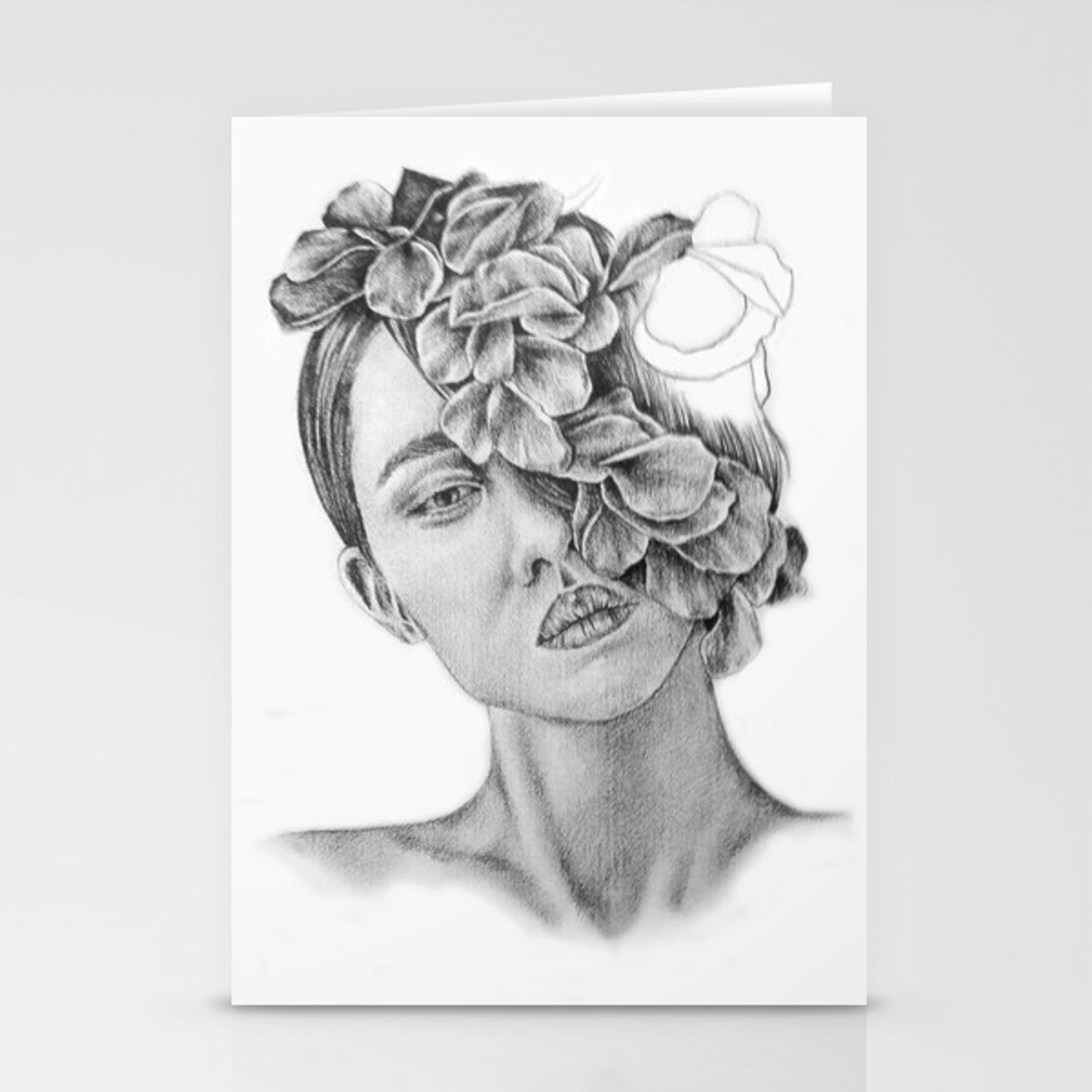 Art pencil drawing illustration portrait model flowers gift wall decor stationery cards by kathrynlisa