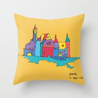 europe Throw Pillows featuring europe by PINT GRAPHICS