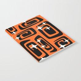 Mid Century Modern Cosmic Galaxies 435 Black and Orange Notebook