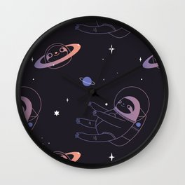 Astro sloth and planet sloth pattern Wall Clock