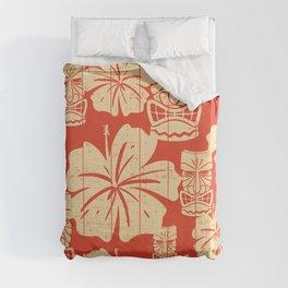 Tiki Pattern in Red Duvet Cover