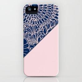 Blush pink navy blue hand drawn modern floral iPhone Case