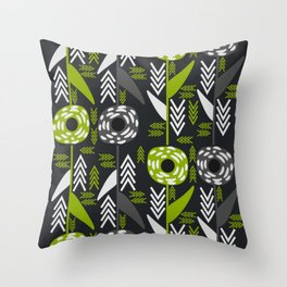 Green flowers and arrows Throw Pillow