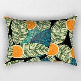 Slices Oranges And Leaves Black Rectangular Pillow