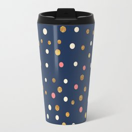 Hipster navy blue faux gold glitter modern polka dots Travel Mug