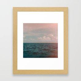 Turquoise Ocean Peach Sunset Framed Art Print