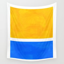 Primary Yellow Cerulean Blue Mid Century Modern Abstract Minimalist Rothko Color Field Squares Wall Tapestry
