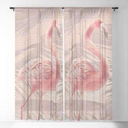 Peach + Pink Tropical Flamingo Sheer Curtain