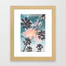 Palms and Pink Clouds Framed Art Print