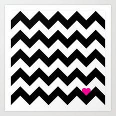 Heart & Chevron - Black/Pink Art Print