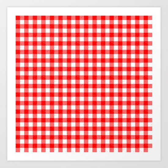 Gingham Red and White Pattern Art Print