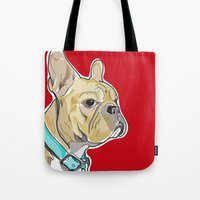 frenchie Tote Bags featuring FRENCHIE by Analy Diego