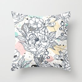 Modern geometric shapes and floral strokes design Throw Pillow