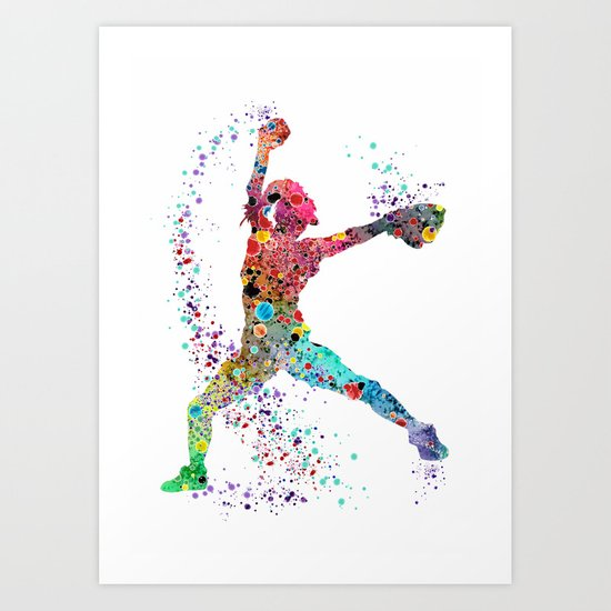 Baseball Softball Pitcher Watercolor Print Art Print Girl's Softball Painting by svetlaart