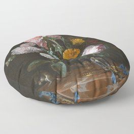 Willem Van Aelst - Vanitas Flower Still Life Floor Pillow