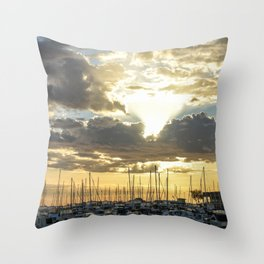 Sunset Over The Boat Harbour  Throw Pillow
