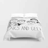 cactei Duvet Covers featuring Freaks and Geeks by ☿ cactei ☿