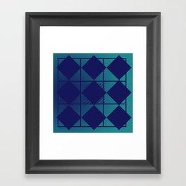 Blue,Diamond Shapes,Square Framed Art Print