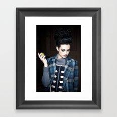 girl with green apple Framed Art Print