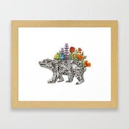Grizzly Flora Framed Art Print