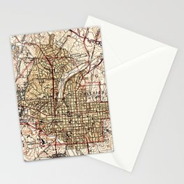 Vintage Map of Raleigh North Carolina (1940) Stationery Cards