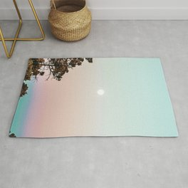 Rainbow Color Sunset // Incredible Clear Sky Photograph Through the Forest Trees Rug