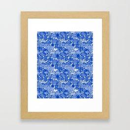 Chinese Symbols in Blue Porcelain Framed Art Print