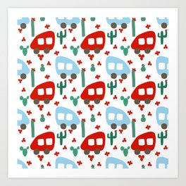 Camper Vans in Red and Blue with Green Cactus and Red Flowers Art Print